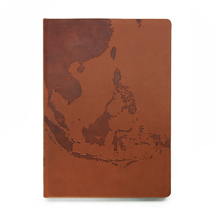 Leather bonded notebook with debossed map empire diary sciox Images